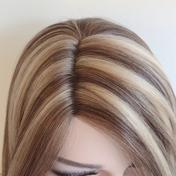 Audrey | Tricolor Brown Blond Straight Mono-top Wig 16""