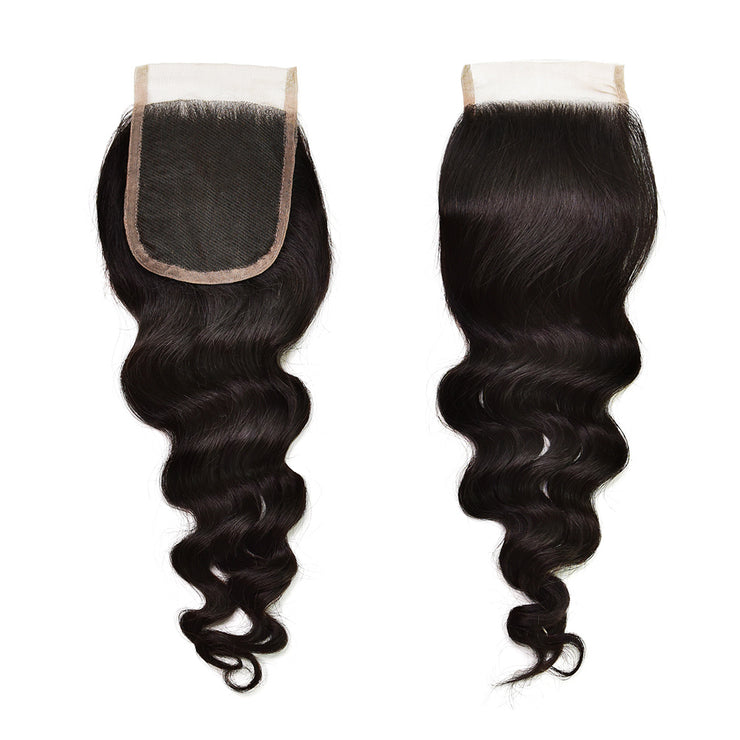 Swiss Lace Loose Wave Closure Human Virgin Hair Unprocessed Indian Wavy Natural Color