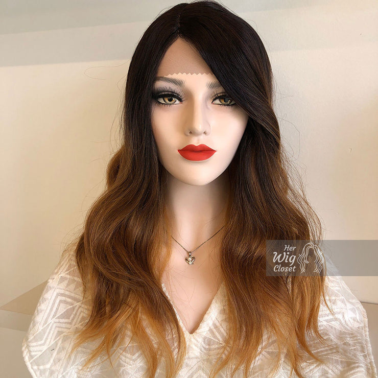 "Collin | 20"" Wavy Black Brown Blonde Ombre Lace Front Wig Her Wig Closet"