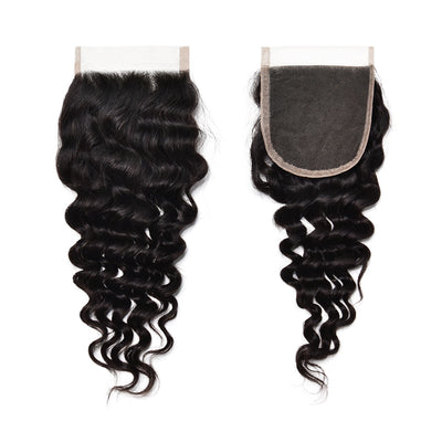 Swiss Lace Deep Wave 4X4 Closure Human Virgin Hair Unprocessed Indian Curly Natural Color