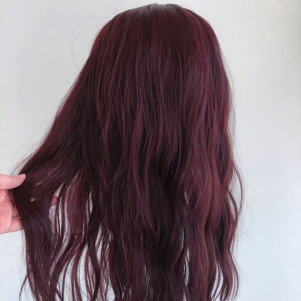 "Her Wig Closet Emma 24"" Burgundy Red Lace Front Wavy Wig Fashion Cosplay Costume"