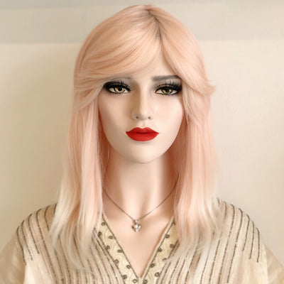 "Evelyn | 16"" Straight Pastel Pink Synthetic Wig"