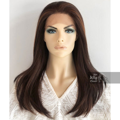 "Faye | 20"" Straight Brown W/ Highlights Lace Front Wig Her Wig Closet"