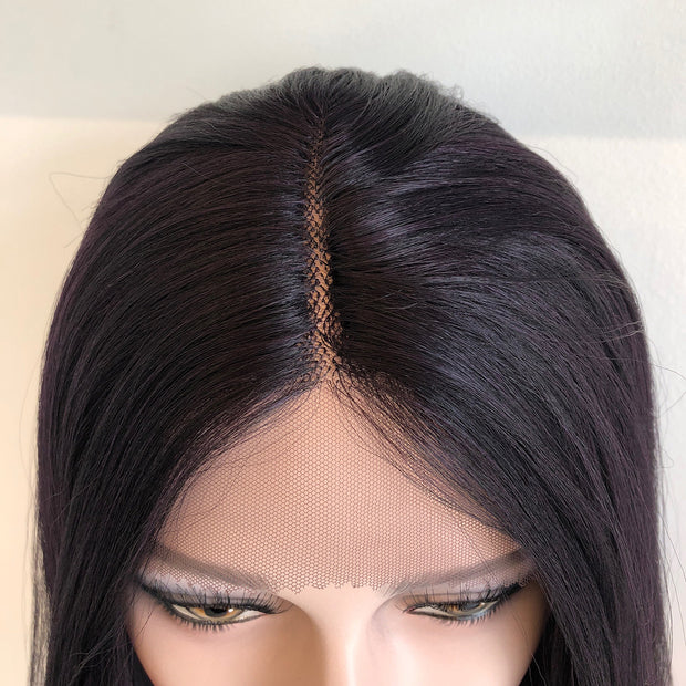 "Iris | 16"" Straight Dark Purple Synthetic Wig"