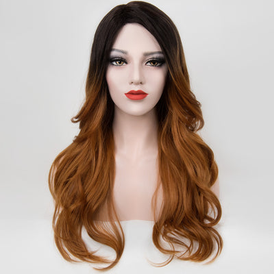 "Julia | 20"" Black Caramel Brown Wavy Wig"