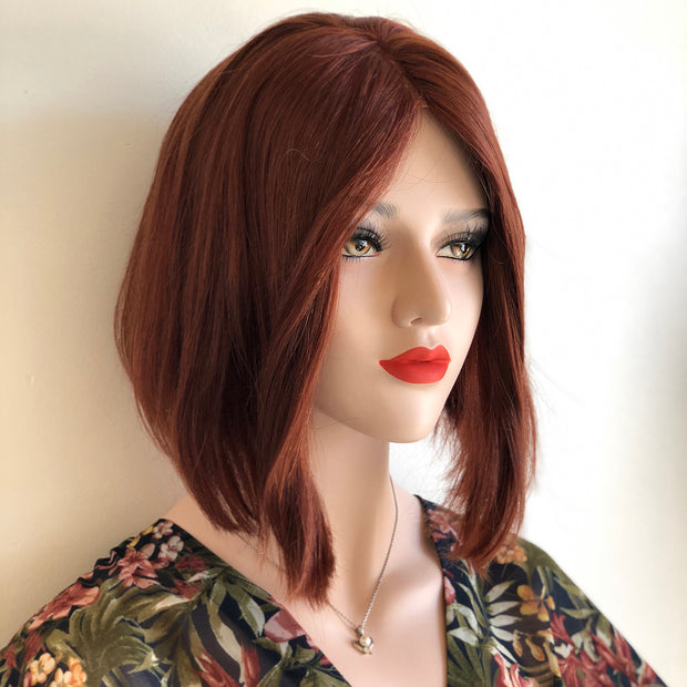 "June | 12"" Straight Irish Red Wig w/ Lace Parting"