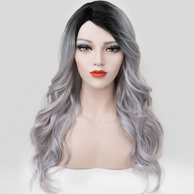 "Karlie | 20"" Side Part Dark Root Silver Wavy Wig"