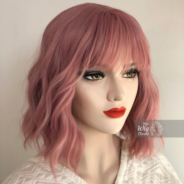 "Katy | 12"" Dusty Rose Wavy Pastel Pink Synthetic Wig"