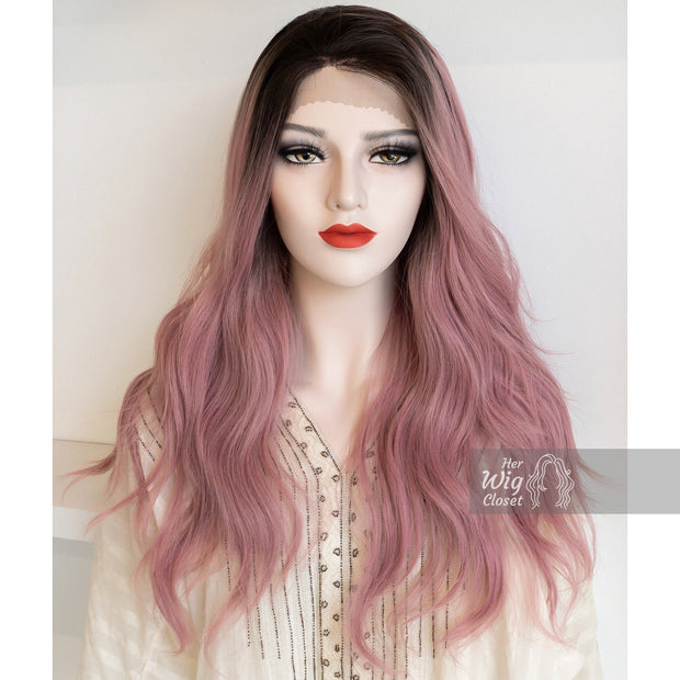 Pastel Pink Ombre Lace Front Wavy Wig | Kelly Her Wig Closet