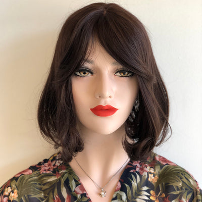 "12"" Natural Dark Brown Lace Part Bob Wig with Bangs Her Wig Closet Lilly"
