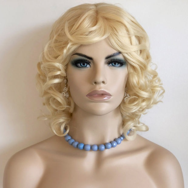 "Her Wig Closet 10"" Platinum #613 Blonde Loose Curly Wig Lori"