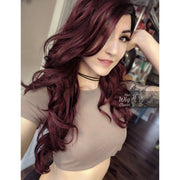 "Louisa | 30"" Side Part Burgundy Wavy Wig Her Wig Closet"