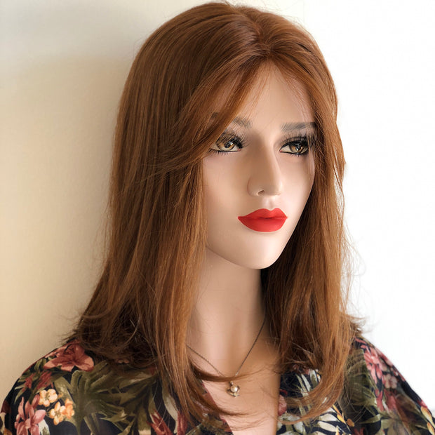 "Her Wig Closet 14"" Straight Auburn Brown Lace Part Wig with Bangs Lucia"