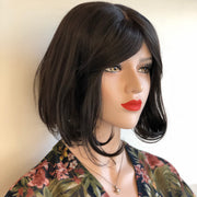 "Lydia | 12"" Natural Black Lace Part Bob Wig with Bangs"