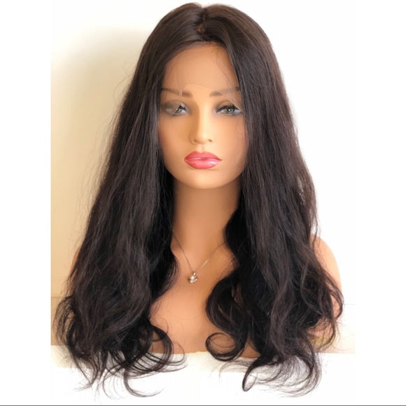360 Lace Front Human Hair Body Wavy Wig Virgin Hair Natural Color with Baby Hair 180% Density