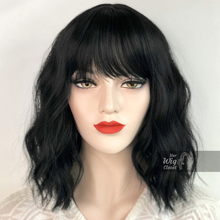 Natural Black Wavy Wig with Bangs | Mathilda