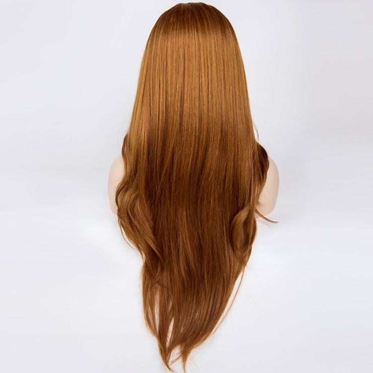 "Mia | 26"" Long Caramel W/ Black Roots Wavy /Straight Wig"