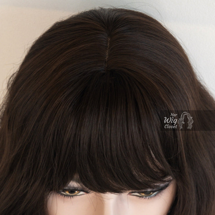Brunette Medium Brown Wavy Wig with Bangs | Mila Her Wig Closet