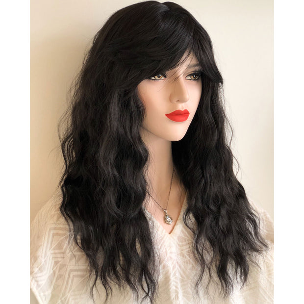 "Her Wig Closet Emily Black Loose Wave Synthetic Wig with Bangs 20"" Cosplay Fashion"