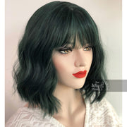 Polaris | Pastel Dark Green Wavy Wig with Bangs Her Wig Closet