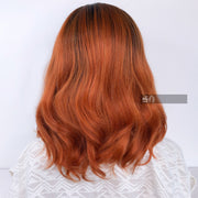 Dark Brown Ginger Red Ombre Wavy Lace Wig 12"