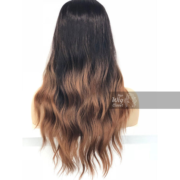 "Samantha | Black Brown Ombre Wavy Lace Front Wig 24"" Her Wig Closet"