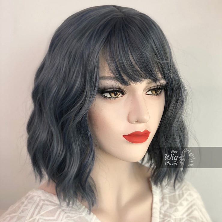 "Stacy | 12"" Ash Blue Gray Wavy Synthetic Wig with Bangs Her Wig Closet"