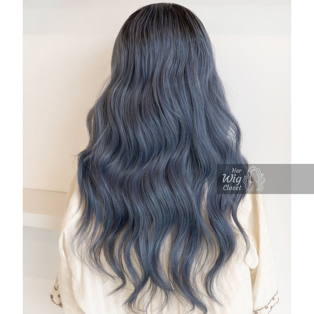 Ashy Blue Ombre Lace Front Wavy Wig | Stefani