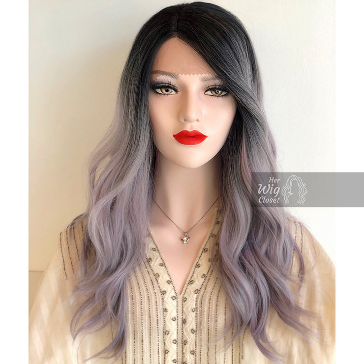 "Tammy | Sliver Purple Tinted Wavy Lace Wig 20"" Her Wig Closet"