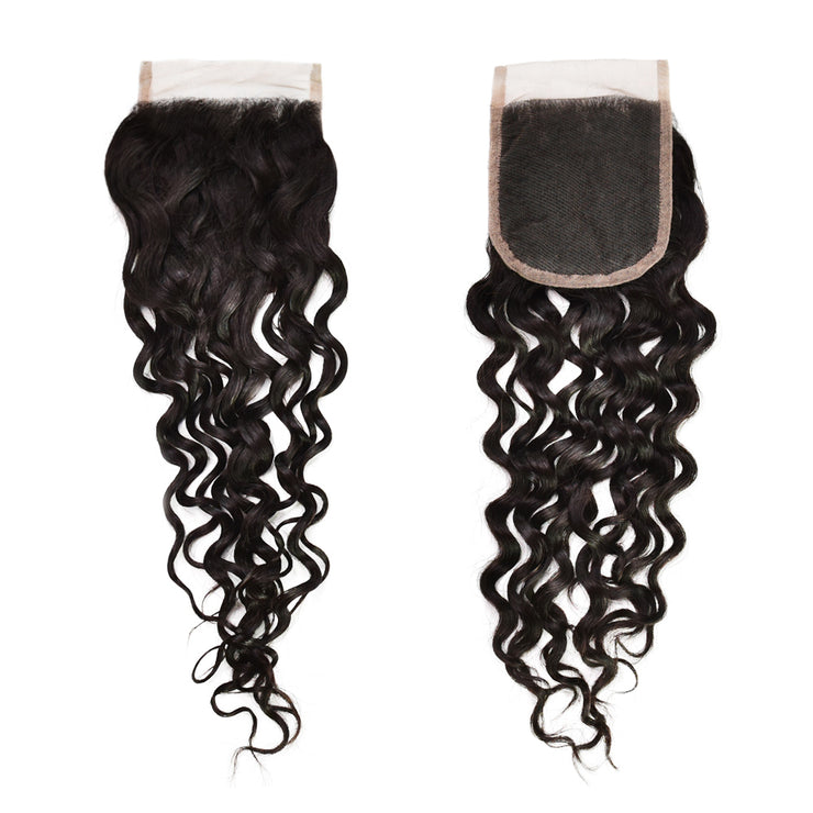Swiss Lace Water Wave Closure Human Virgin Hair Unprocessed Indian Curly Natural Color