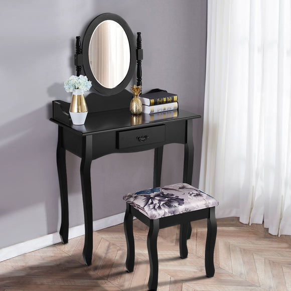 Black Vanity Makeup Dressing Table Stool Set
