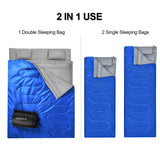 Blue 2 Person Waterproof Sleeping Bag with 2 Pillows