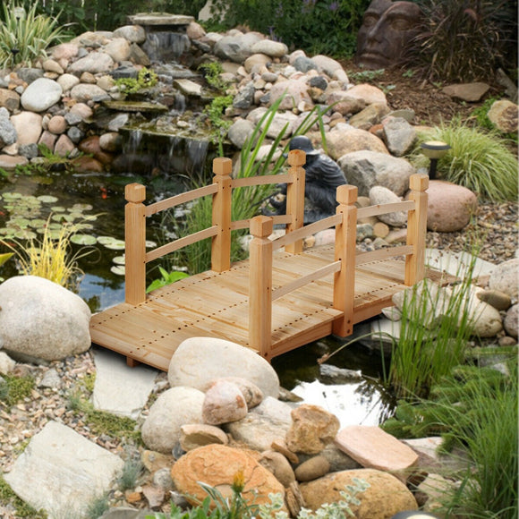 5' Wooden Decorative Garden Bridge