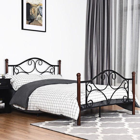Full Size Steel Bed Frame with Stable Platform and Metal Slats