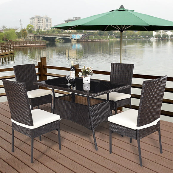 5 Piece Outdoor Patio Rattan Dining Furniture Set