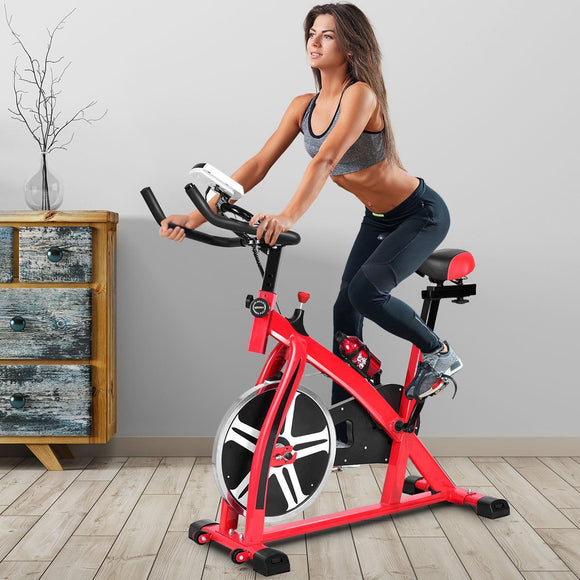 Adjustable Exercise Bicycle Cycling Cardio Fitness with 18 lbs Flywheel