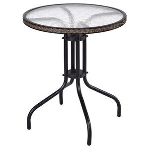 "24"" Patio Furniture Glass Top Patio Round Table"