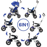 6-In-1 Kids Baby Stroller Tricycle Detachable Learning Bike