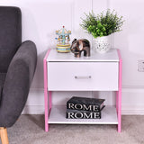 White & Pink Nightstand with Open Shelf