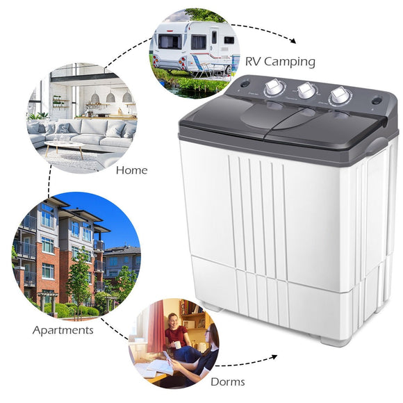16 lbs Twin-tub Portable Mini Washing Machine