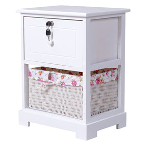 Loackable Night Stand with Basket Drawer