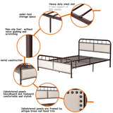 Queen size Metal Bed Frame Platform Bed Upholstered Panel Headboard Footboard