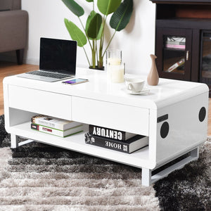 Coffee Table with Built-In Bluetooth Speakers and Drawers