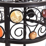 3 pcs Round Ceramic Beads Metal Plant Stand
