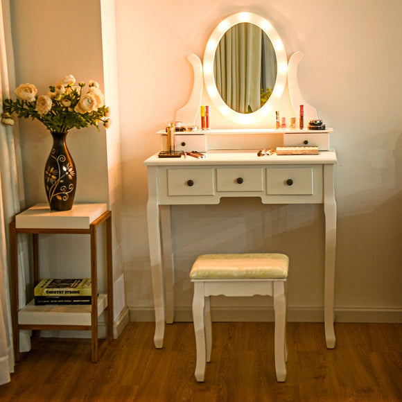 5 Drawers Vanity Dressing Table Stool Set with 12 LED Bulbs