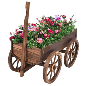 Antique Style Wood Wagon Planter Pot Stand with Wheels