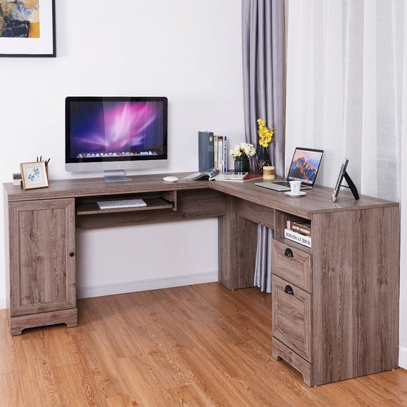 Wood Grain L-Shaped Workstation