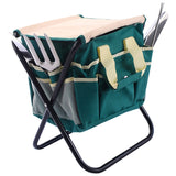 7 pcs Garden Tool Bag Set with a Folding Stool