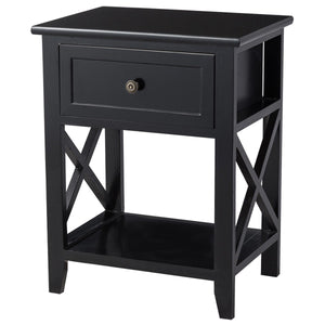 Bedside Storage Nightstand with Drawer and Bottom Shelf