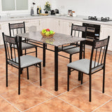 5 PCS Faux Marble Dining Set Table